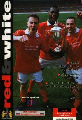 Bristol City v York City, 8th April 1996