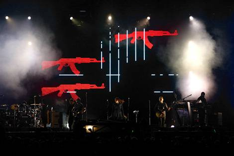 "Massive Attack's ""100th Window"" tour. The stage visual was supposed to visualize the tense international situation at that time. Watch the movie HERE!"